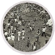 Rush Hour - Sepia Round Beach Towel