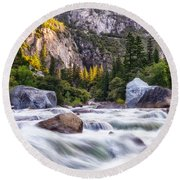 Rush Of The Merced Round Beach Towel
