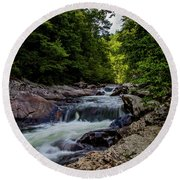Rushing Falls In The Mountains Round Beach Towel