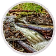 Rushing Stream Round Beach Towel