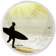 Rushing Surfer Round Beach Towel