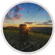 Rushup Edge From Mam Tor Summit Sunset Round Beach Towel