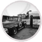 Russel Farms 1951 Ford F100 Black And White Round Beach Towel
