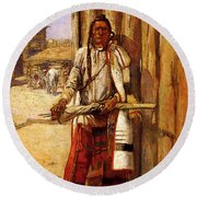 Russell Charles Marion Buffalo Coat Round Beach Towel