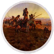 Russell Charles Marion In The Wake Of The Buffalo Hunters Round Beach Towel