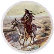Russell Charles Marion Indian With Spear Round Beach Towel