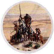 Russell Charles Marion Indians On Plains Round Beach Towel