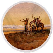 Russell Charles Marion Invocation To The Sun Round Beach Towel