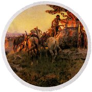 Russell Charles Marion Watching For Wagons Round Beach Towel