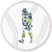 Russell Wilson Seattle Seahawks Pixel Art T Shirt 1 Round Beach Towel