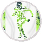 Russell Wilson Seattle Seahawks Water Color Art 1 Round Beach Towel