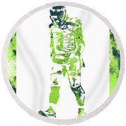 Russell Wilson Seattle Seahawks Water Color Art 2 Round Beach Towel