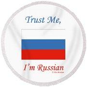 Russian Flag Round Beach Towel