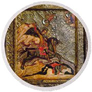 Russian Icon: Demetrius Round Beach Towel