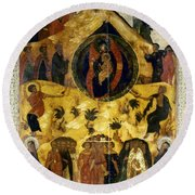 Russian Icon Round Beach Towel