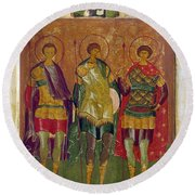 Russian Icon: Saints Round Beach Towel