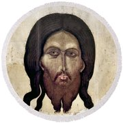 Russian Icon: The Savior Round Beach Towel