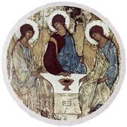 Russian Icons: The Trinity Round Beach Towel