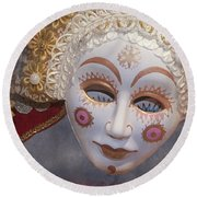 Russian Mask 4 Round Beach Towel