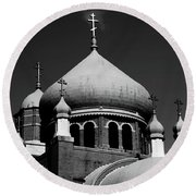 Russian Orthodox Church Bw Round Beach Towel