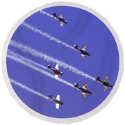 Russian Roolettes And Blue Sky Round Beach Towel