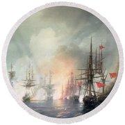 Russian Turkish Sea Battle Of Sinop Round Beach Towel by Ivan Konstantinovich Aivazovsky