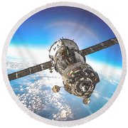 Majestic Blue Planet Earth Round Beach Towel