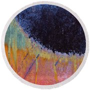 Rust Abstract With Curved Line Round Beach Towel