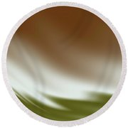 Rust And Olive Waves Round Beach Towel