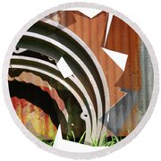 Rust And Our Carbon Footprint Round Beach Towel