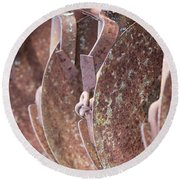 Rusted Blades Round Beach Towel
