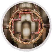 Rusted Prison Gate Round Beach Towel