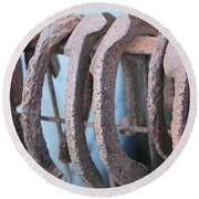 Rusted Shoes Round Beach Towel