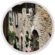 Rustic Provence Alley Round Beach Towel