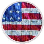 Rustic American Flag Round Beach Towel