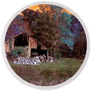 Rustic Barn In Disrepair False Color Infrared Round Beach Towel