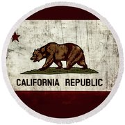 Rustic California State Flag Design Round Beach Towel