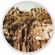 Rustic Cliff Spring Round Beach Towel