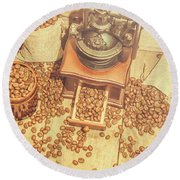 Rustic Country Coffee House Still Round Beach Towel