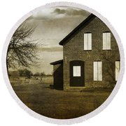 Rustic County Farm House Round Beach Towel