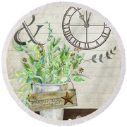 Rustic Farmhouse Our Happy Place Round Beach Towel