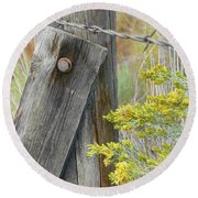 Rustic Fence And Wild Flowers Montana Round Beach Towel