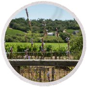 Rustic Fence In Wine Country Round Beach Towel