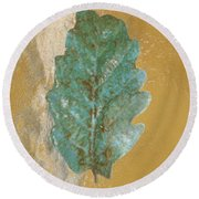 Rustic Leaf Round Beach Towel