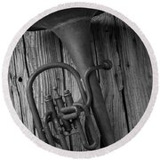 Rustic Old Horn Round Beach Towel