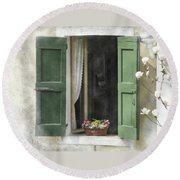 Rustic Open Window With Green Shutters Round Beach Towel