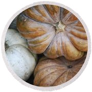 Rustic Pumpkins Round Beach Towel