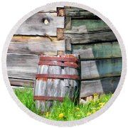 Rustic Rain Barrel At Old World Wisconsin Round Beach Towel