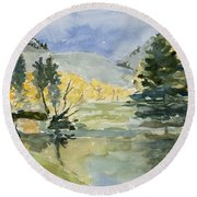Rustic Reflections Round Beach Towel