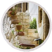 Rustic Steps In Crete Round Beach Towel